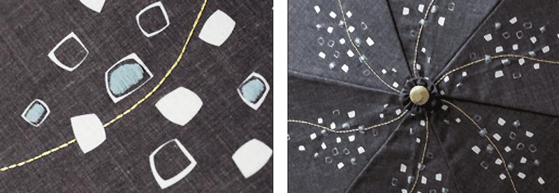 コンフェティ生地のアップ 刺繍例