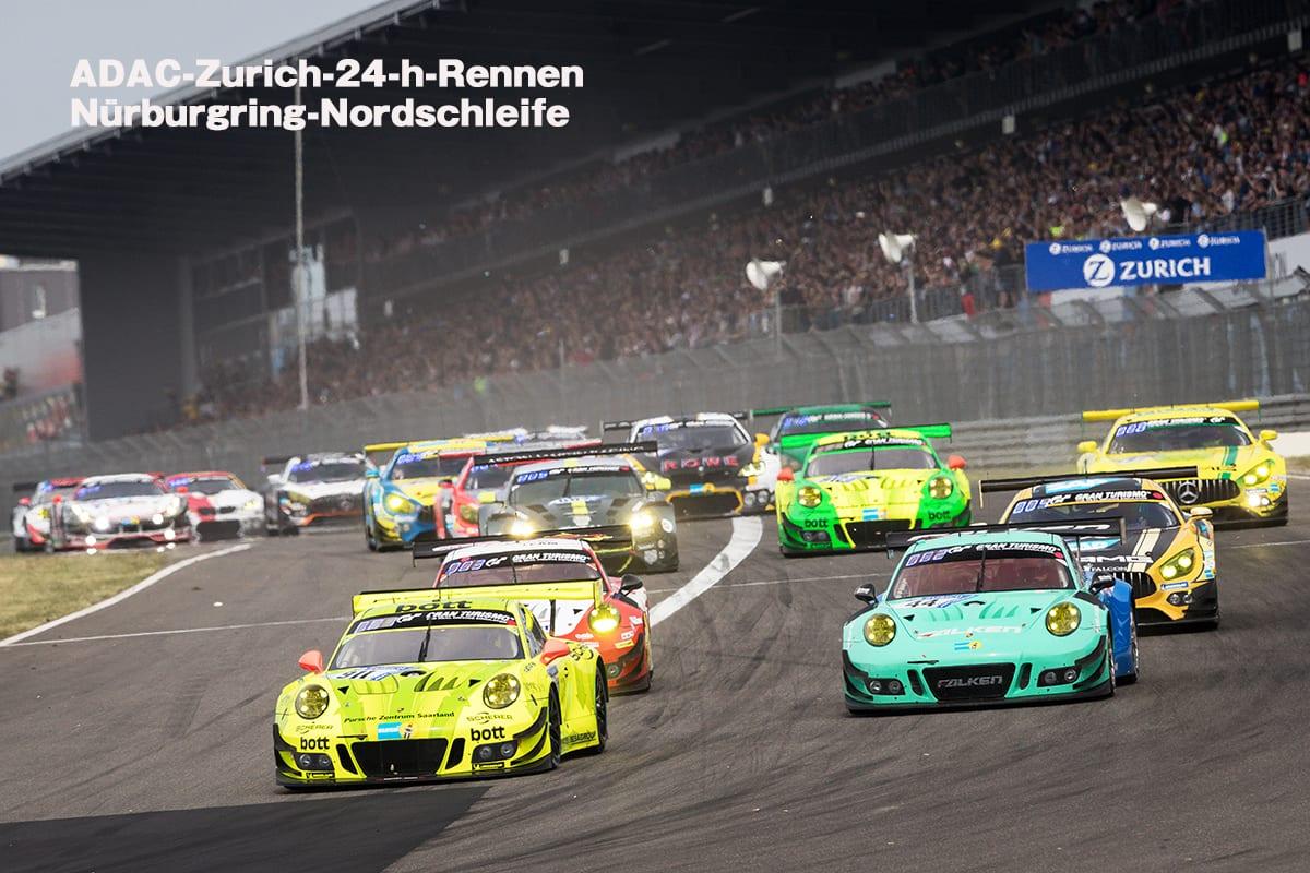 Manthey-Racing, Porsche 911 GT3 R (911), Kevin Estre (F), Romain Dumas (F), Laurens Vanthoor (B), Earl Bamber (NZ), Falken Motorsports, Porsche 911 GT3 R (44), Klaus Bachler (A), Sven Mueller (D), Martin Ragginger (A), Dirk Werner (D),